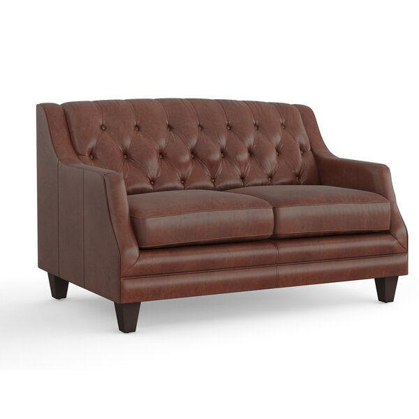 Excellent Brands Derbyshire Leather Loveseat by Three Posts by Three Posts