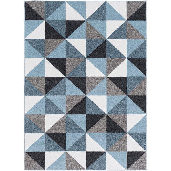 Ashleigh Geometric Aqua/Black Area Rug by Wrought Studio