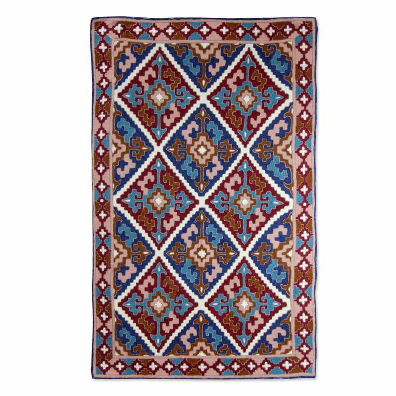 Bloomsbury Market Raseborg Diamond Sky Hand Woven Wool Brown Blue Area Rug Wayfair