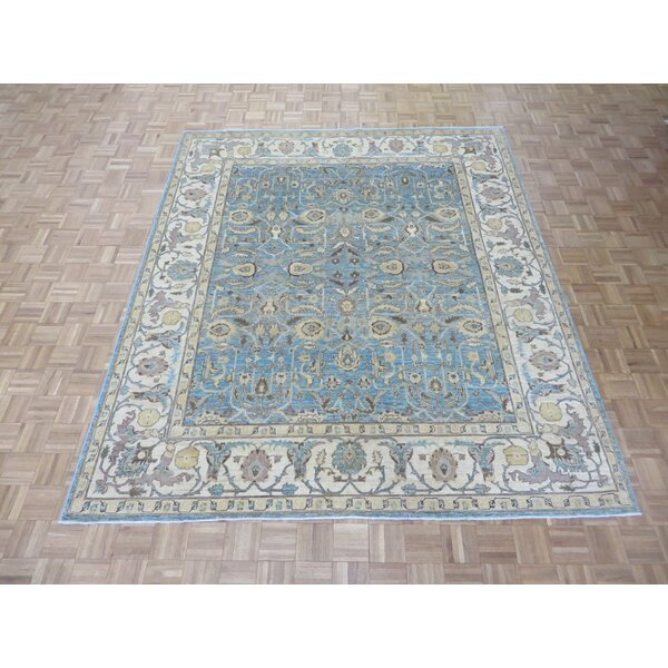 One-of-a-Kind Josephson Peshawar Hand-Knotted Wool Sky Blue Area Rug by Canora Grey