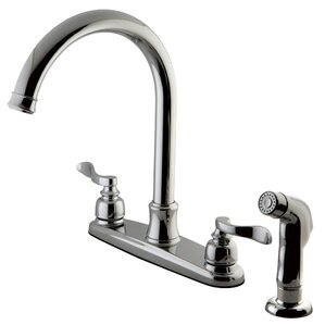 Kingston Brass NuWave French Centerset Double Handle Kitchen Faucet with Side Spray