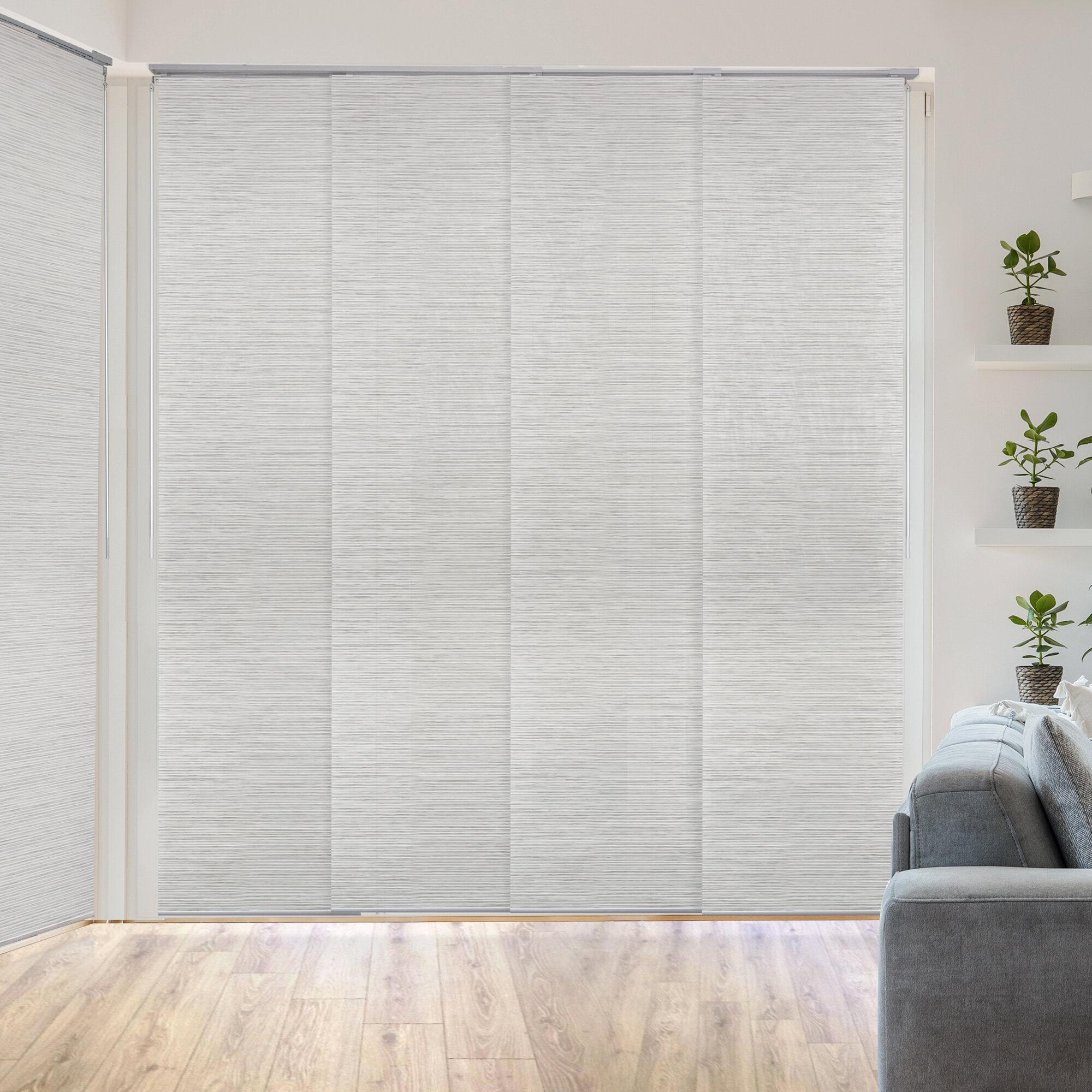 Deluxe Adjustable Sliding Room Darkening White/Gray Vertical Blind