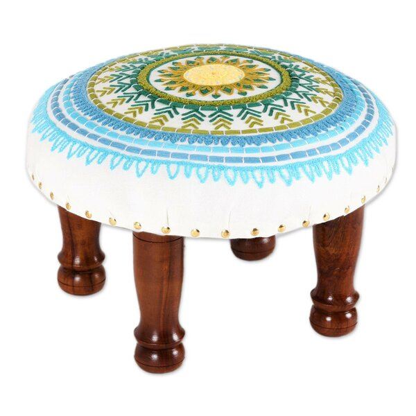 Liev Handmade Creative Charm Rayon-Embroidered Ottoman by Bungalow Rose
