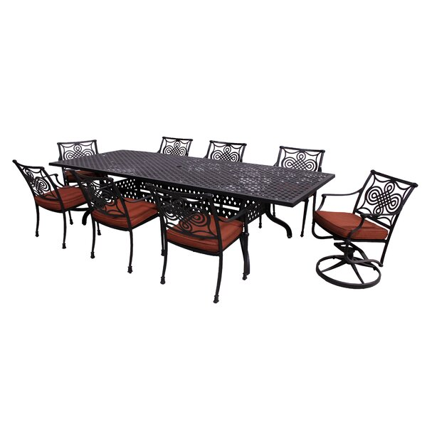 Laux 9 Piece Dining Set with Sunbrella Cushions by Bloomsbury Market