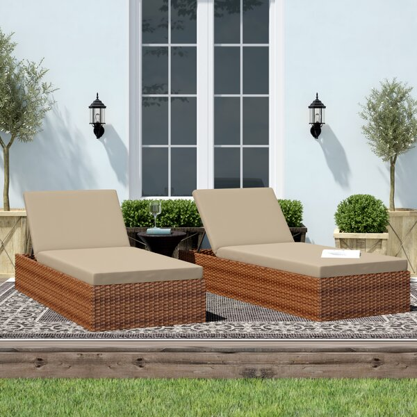 Waterbury Reclining Chaise Lounge with Cushion by Sol 72 Outdoor Sol 72 Outdoor