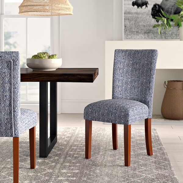 Kelsi Upholstered Parsons Chair in Blue (Set of 2) by Mistana
