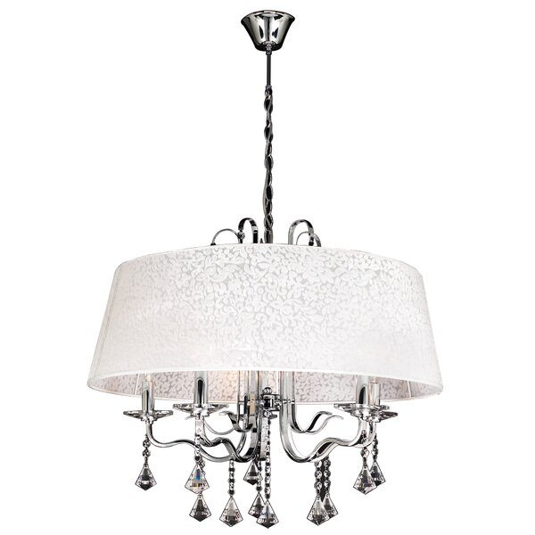 5 - Light Unique / Statement Drum Chandelier With Crystal Accents By PLC Lighting