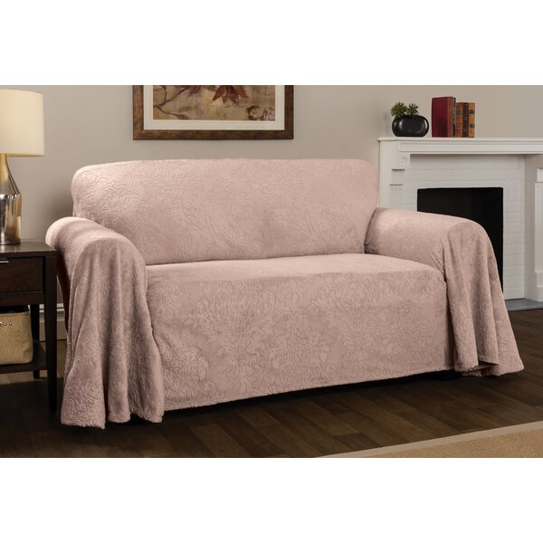 Plush Damask Throw Sofa Slipcover by Winston Porter