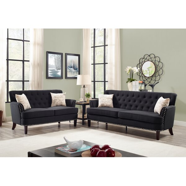 Quayle Wing Chesterfield Nailhead 2 Piece Living Room Set by Canora Grey Canora Grey