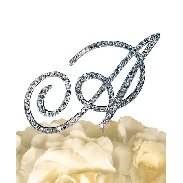 Victorian Rhinestone Letter Wedding Cake Topper by Unik Occasions