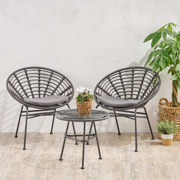 Mabie Chat 3 Piece Seating Group with Cushions by Bungalow Rose