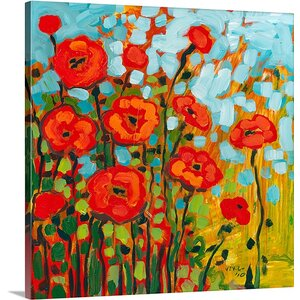 'Red Poppy Field' by Jennifer Lommers Painting Print on Canvas by Canvas On Demand