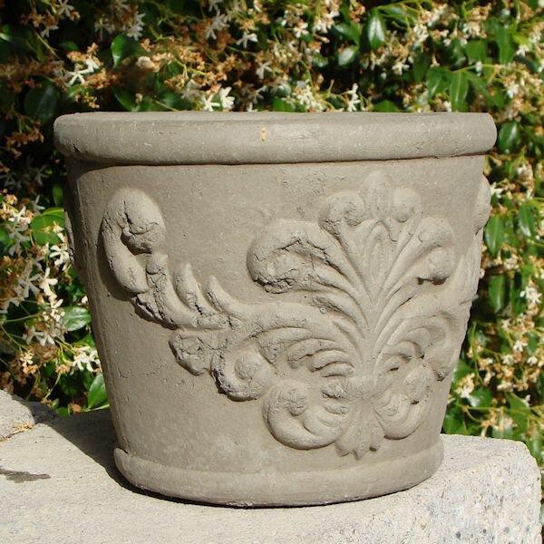Small Round Regalia Cast Stone Pot Planter by Designer Stone, Inc