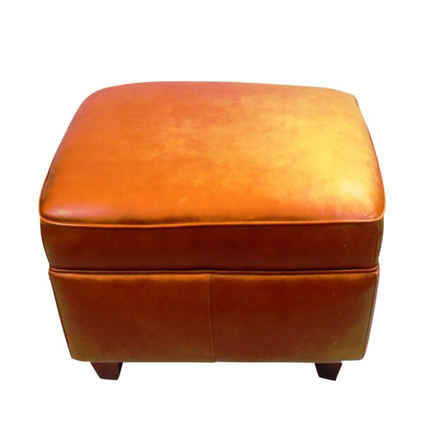 Hancock and Moore Leather Ottoman by Pasargad NY Pasargad NY