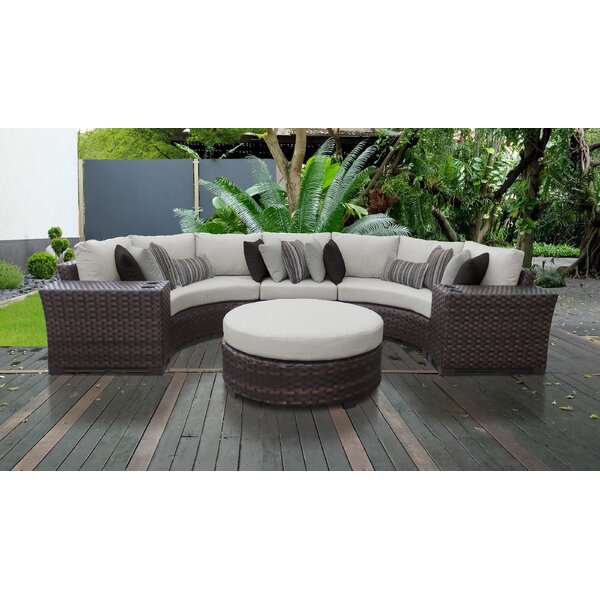 kathy ireland Homes & Gardens River Brook 6 Piece Outdoor Wicker Patio Furniture Set 06c by kathy ireland Homes & Gardens by TK Classics