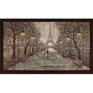 Walk To Eiffel Tower by Anastasia C. Framed Painting by Hobbitholeco.