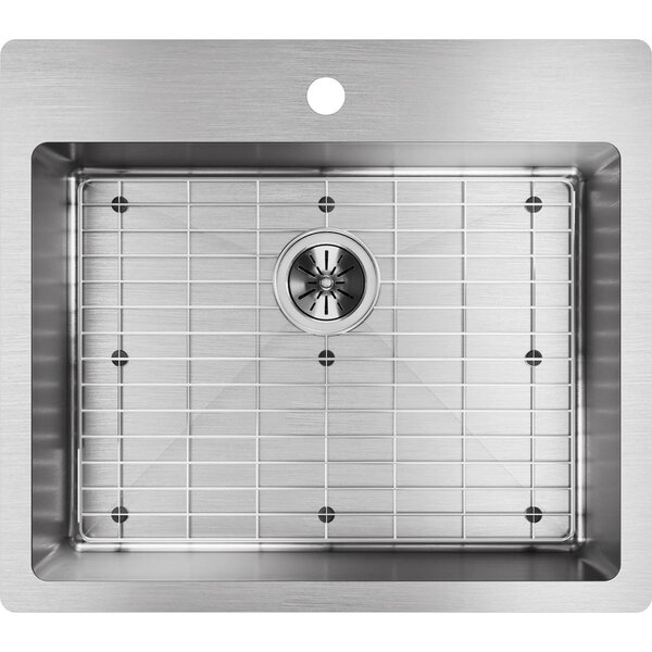 Crosstown 25L x 22W Undermount/Drop-In Kitchen Sink and basin rack with Sink Grid by Elkay
