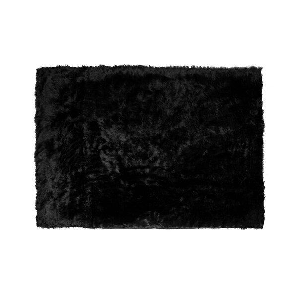 Anvi Faux Fur Black Area Rug by Willa Arlo Interiors