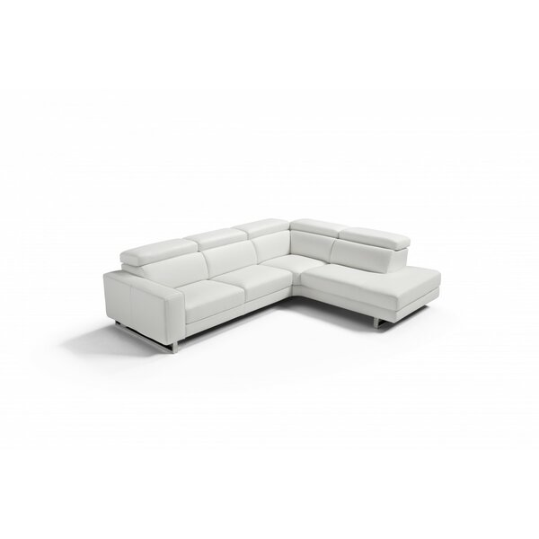 Sania Right Hand Facing Leather Sectional By Orren Ellis