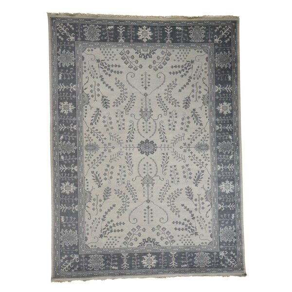 One-of-a-Kind Dilbeck Turkish Knot Sarouk Cropped Thin Hand-Knotted Ivory Area Rug by World Menagerie