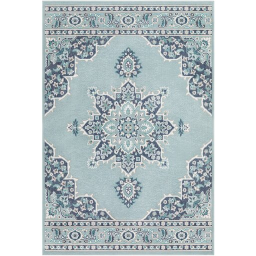 Hsieh Floral Charcoal/Aqua Indoor/Outdoor Area Rug by Alcott Hill