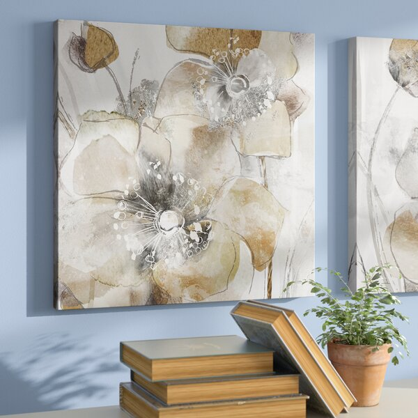 Taupe Spring Poppy Ii Oil Painting Print On Wrapped Canvas By Winston Porter.