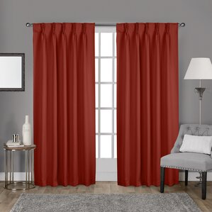 claudio sateen woven back tab solid blackout pinch pleat curtain panels set of 2