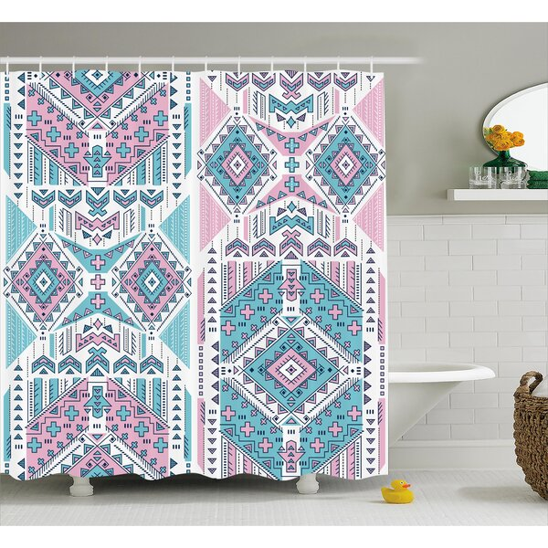 Sheri Tribal Geometric Bohemian Indian Aztec Design Vintage Stylized Pastel Colors Shower Curtain by Ebern Designs
