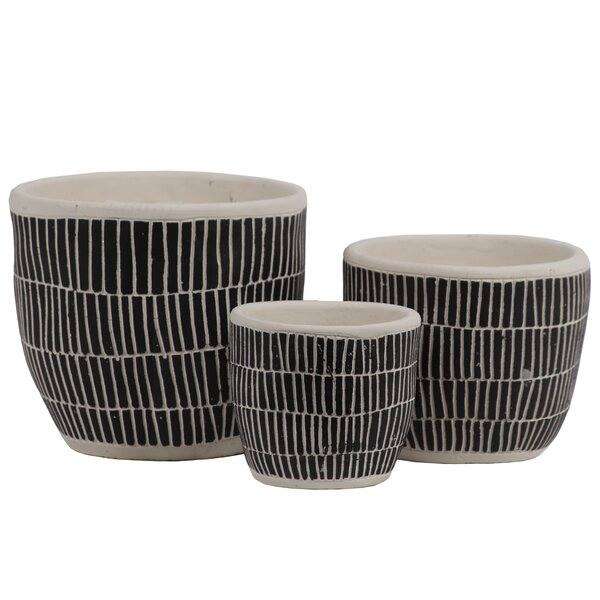 Doniphan 3-Piece Stone Pot Planter Set by Bungalow Rose