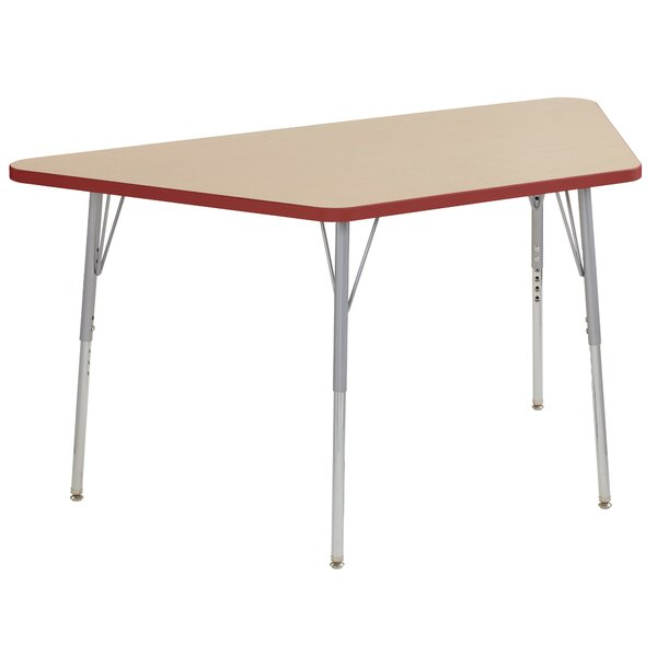 Maple Trapezoid Thermo-Fused Contour Adjustable 30 x 60 Trapezoidal Activity Table by ECR4kids