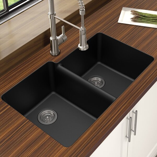 Granite Quartz Offset 33 L x 21 W Double Basin Undermount Kitchen Sink by Winpro