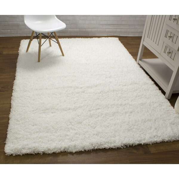 Ambriz Microfiber Ultra Soft Shag White Area Rug by Harriet Bee