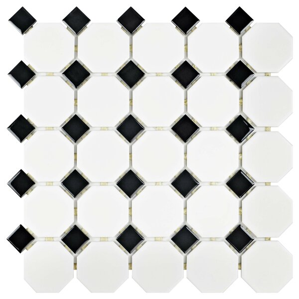 Retro Porcelain Mosaic Tile in Matte White/Black by EliteTile
