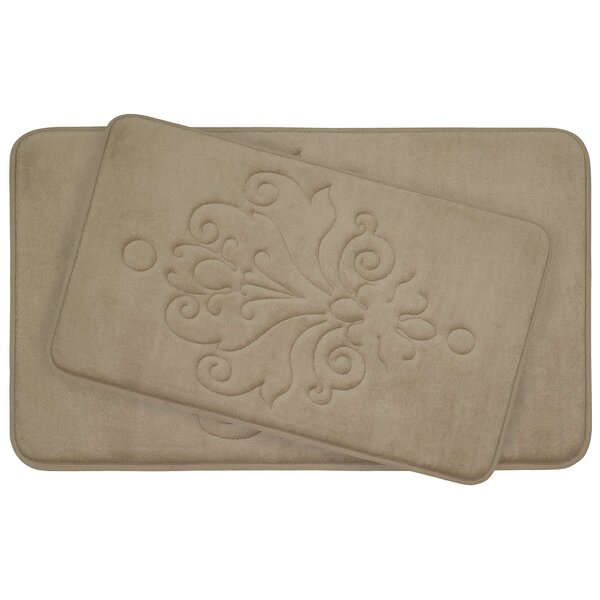 Reve 2 Piece Micro Plush Memory Foam Bath Mat Set by Bath Studio