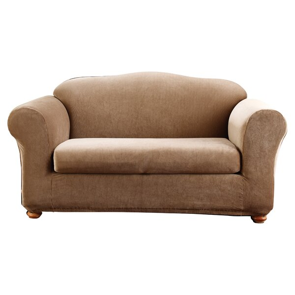 Stretch Stripe Madison Box Cushion Loveseat Slipcover by Sure Fit