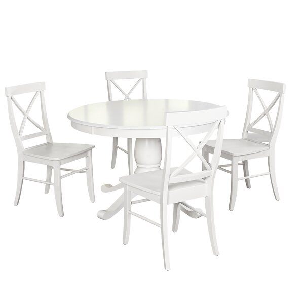 Stock Island 5 Piece Solid Wood Dining Set by Beachcrest Home