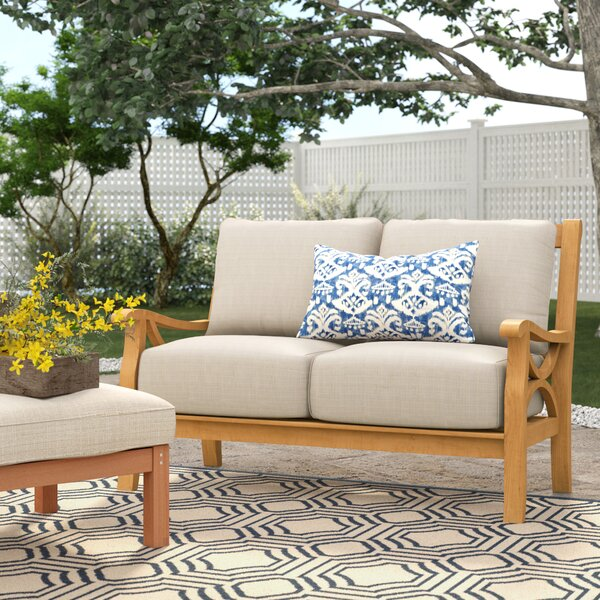 Brunswick Teak Loveseat with Cushions by Birch Lane™ Heritage