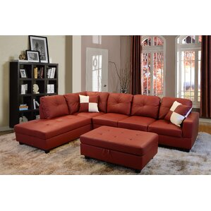 Russ Sectional  sc 1 st  Wayfair : red leather sectional sofa - Sectionals, Sofas & Couches