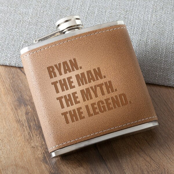 The Man/The Myth/The Legend Stitched Flask by JDS Personalized Gifts