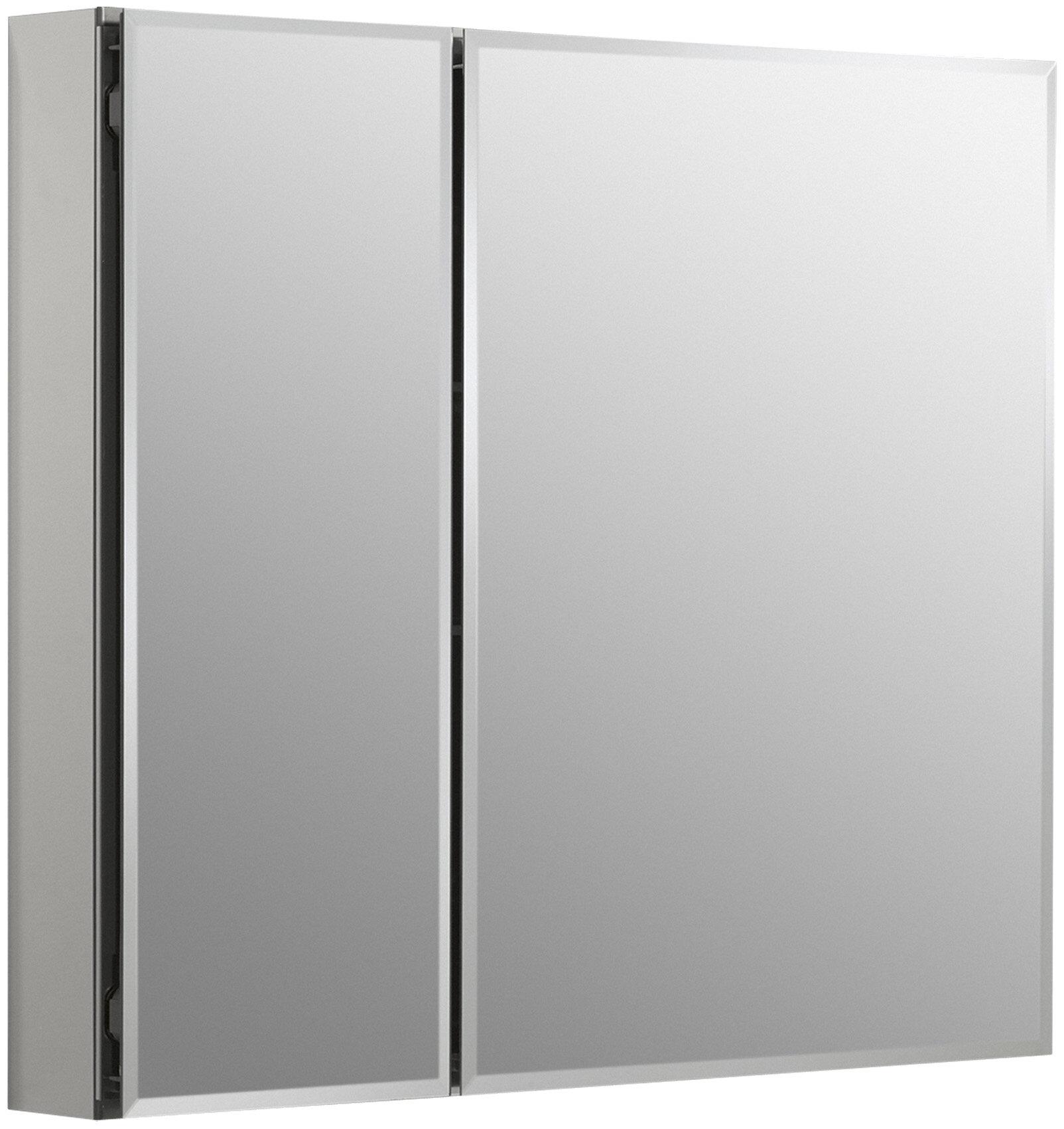 30  x 26  Aluminum Two-Door Medicine Cabinet with Mirrored Doors Beveled Edges u0026 Reviews | AllModern & 30