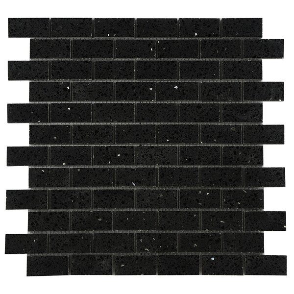 Quartz Engineered Stone Tile in Black by Byzantin Mosaic