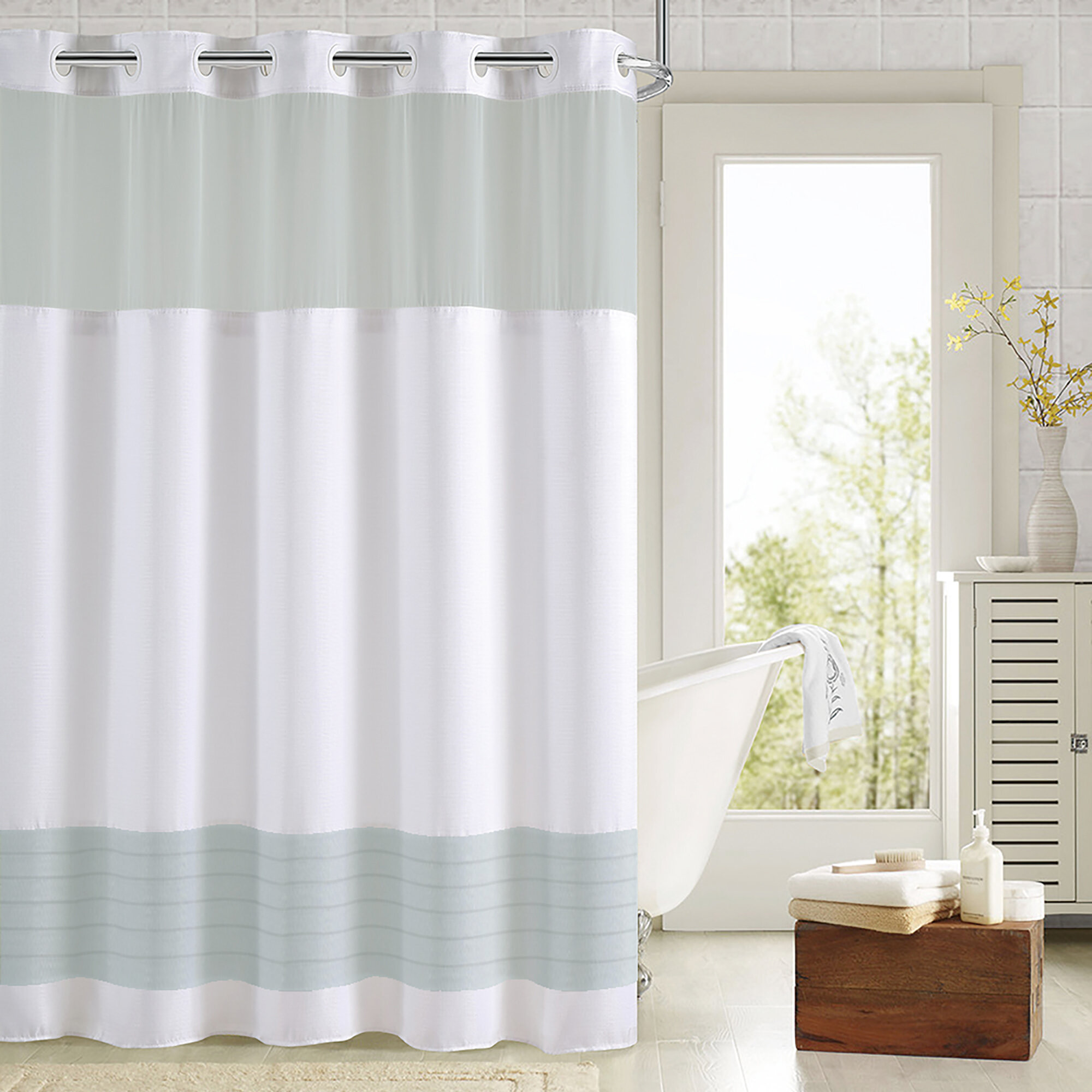 Highland Dunes Colour Block Shower Curtain With Fabric Liner Navy