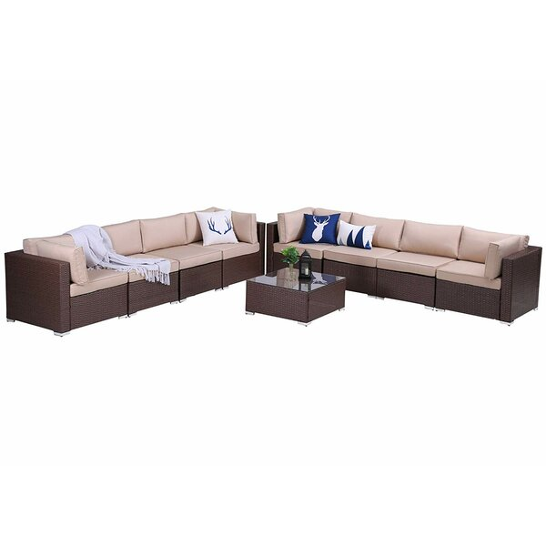 Siren Outdoor 9 Piece Rattan Sectional Seating Group with Cushions by Latitude Run