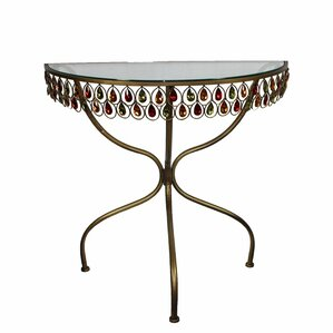 Wasco Glass and Metal End Table by Bloomsbur..