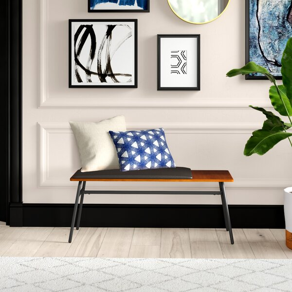 Ridgley Faux Leather Bench by Mercury Row