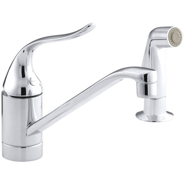 Coralais Two-Hole Kitchen Sink Faucet with 8-1/2 Spout, Matching Finish Side-Spray, Ground Joints and Lever Handle by Kohler
