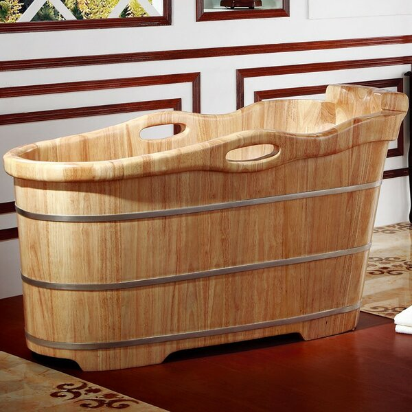 Rubber Wood 57.25 x 23.63 Freestanding Soaking Bathtub by Alfi Brand