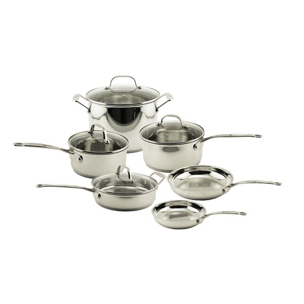 EarthChef 10-Piece Premium Copper Clad Cookware Set with Glass Lids by BergHOFF International