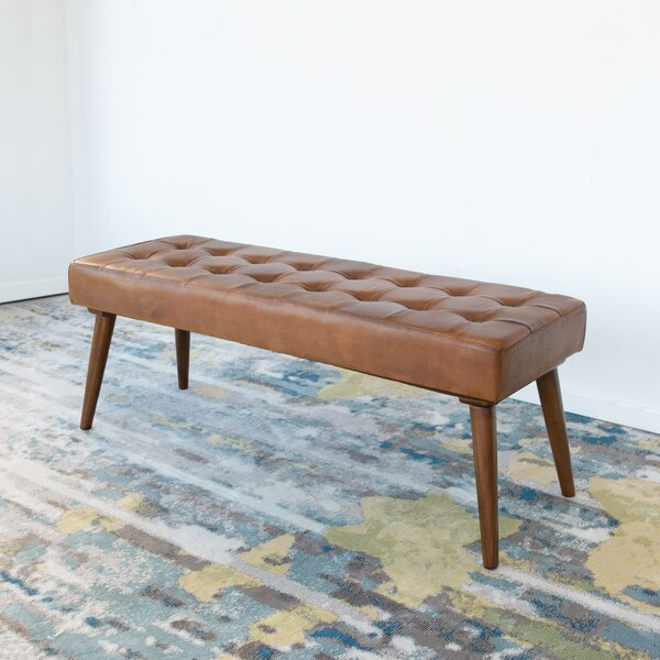 North Reading Genuine Leather Bench by George Oliver