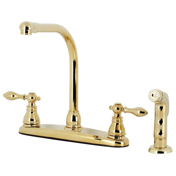 Double Handle Kitchen Faucet with Side Spray by Kingston Brass Kingston Brass